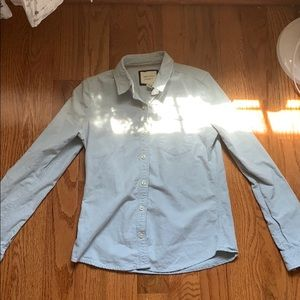 Forever 21 Blue Button-Front Cotton